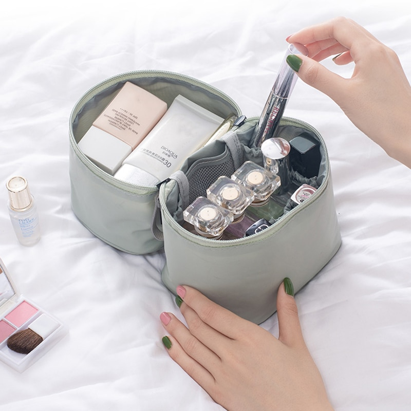 Bolsas de maquillaje de nailon para mujer, estuche cosmético de viaje de belleza para lápiz labial, estuche cosmético con cremallera, bolsa de almacenamiento organizadora de artículos de tocador, accesorios