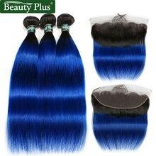 Mèches naturelles brésiliennes non-remy lisses-Beauty   Cheveux naturels, oreille à oreille, pre-plucked, avec frontaux, 13x4, bleues, avec fermetures