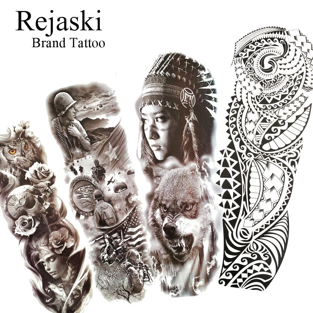 Rejaski Maori tótem brazo completo India impermeable tatuaje temporal pegatina para Mujeres Hombres niñas Lobo falso brazo grande negro tatuaje papel