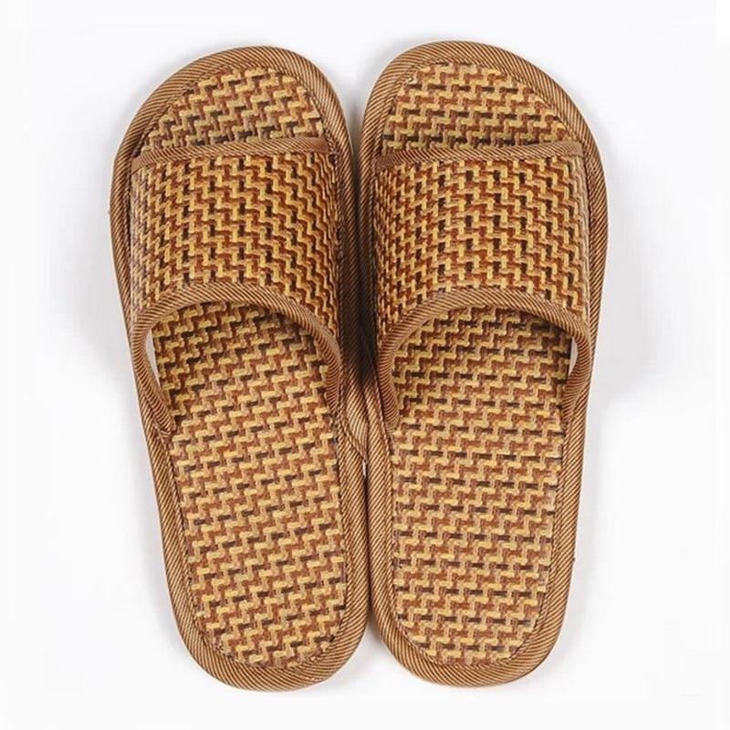 Pantuflas de Interior para el hogar, colchoneta de bambú de ratán de Color Natural para verano, zapatillas de suelo para hombre, zapatos de ocio para mujer