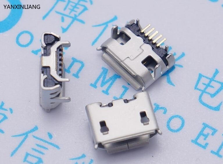 10 piezas Micro 5pin USB Jack de cuerno de buey ya aguja longitud 1,25 5 P con cuerno de buey 5 P cargador MIni conector usb