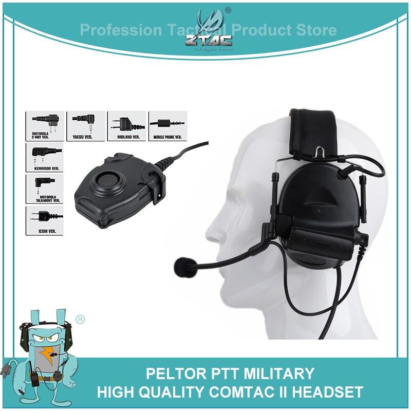 Z-TAC táctico militar Airsoftsports Comtac 2/II auriculares de aviación con cancelación de ruido auriculares de caza con Peltor Kenwod PTT