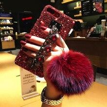 Luxe Paillettes Bling Diamant Gemme Bracelet Chaîne Sangle Cas Boule De Fourrure Pour iPhone 11 Pro max XSMAX XR 6 7 8 Plus Étui pour Téléphone