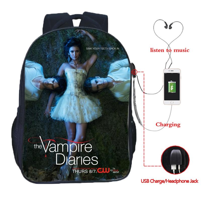 Mochila bonita The Vampire Diaries, mochila con carga USB, mochilas para estudiantes, niños y niñas, mochila escolar moderna para adolescentes, mochila de uso diario