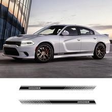 2 Pcs Auto Styling Side Rok Strepen Voertuig Taille Lijn Sticker Decals Voor Dodge Challenger Durango Srt Viper Charger Journey