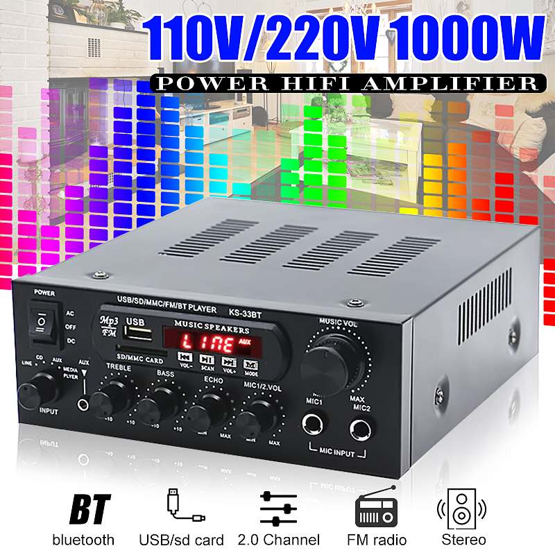 1000W Home Amplifiers Audio Hifi Bass Audio Power Amplifier Home Theater Amplifier for Subwoofer Speakers 10 600w active car subwoofer audio speakers amplifier ultra thin subwoofer bass amplifier auto surround sound car audio system