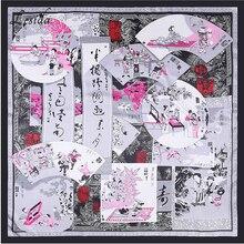 2018 Ethnic Chinese Silk Square Women Print Scarf Luxury Designer Brand Shawl Foulard Bandana Joker Red Big Scarf