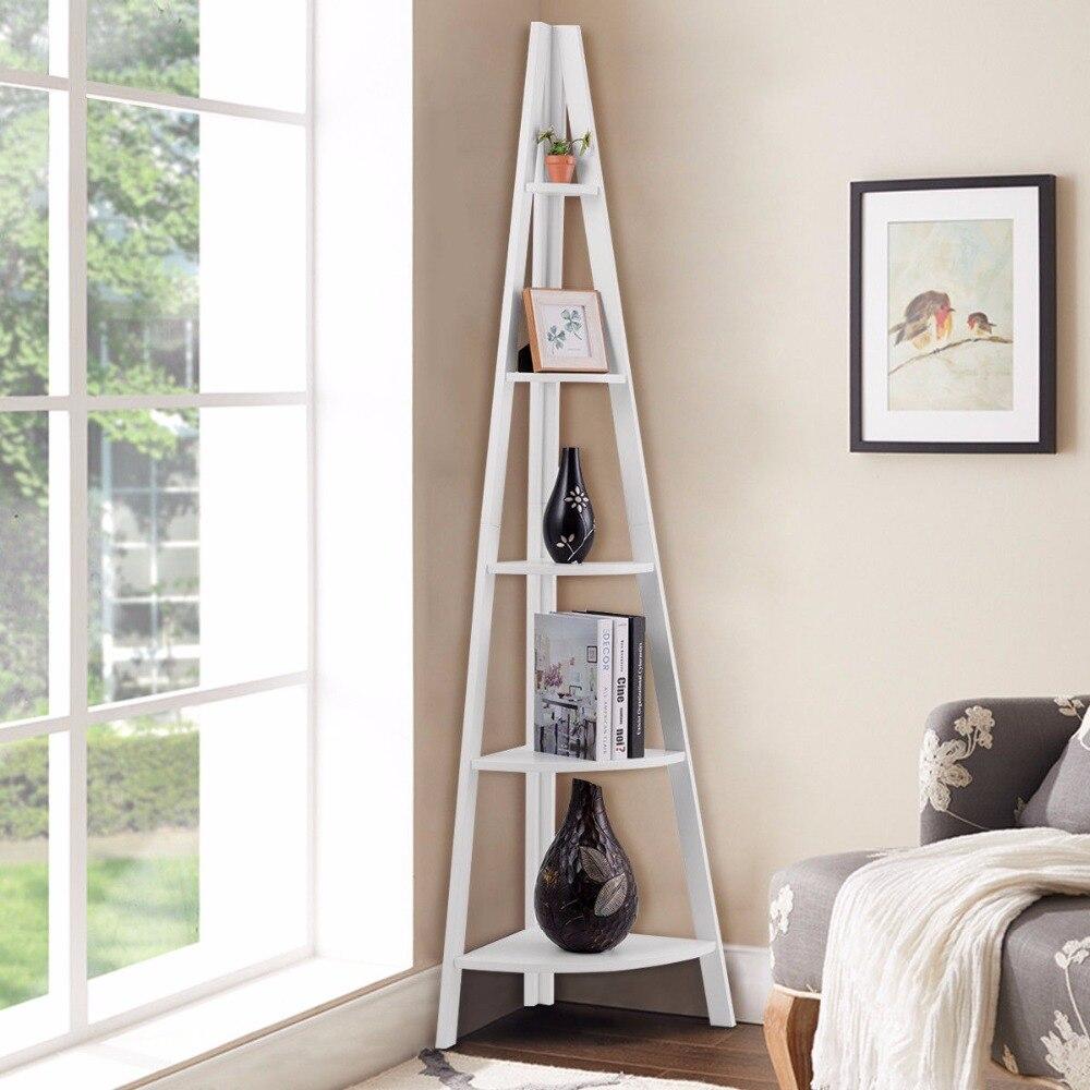 Giantex, estantería de escalera de esquina de 5 niveles, estantes de pie, estantería, muebles para el hogar HW60327WH