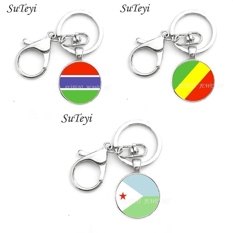 Marca SUTEYI, llavero de Gambia y Congo y Yibuti, joyería para hombres y mujeres, llavero de colgantes con bandera nacional, anillo de joyería