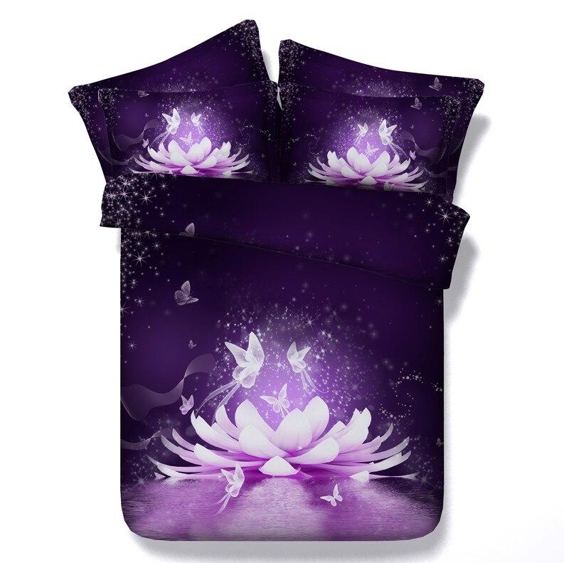 3D Цветочные фиолетовые одеяла, постельные принадлежности, пододеяльник, кровать в сумке, раскидывается, doona, супер король, королева, размер, ...
