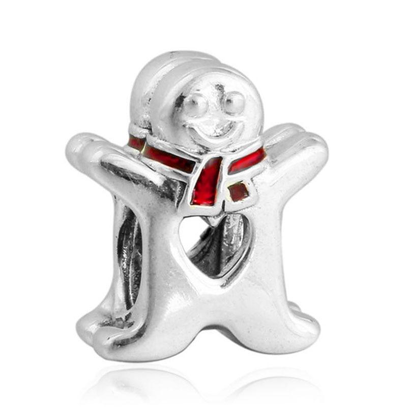 Freies Verschiffen Europäische 1pc weihnachten DIY Silber lebkuchen Mann Charme Baumeln Bead fit pulseira Pandora Charme Armbänder Schmuck