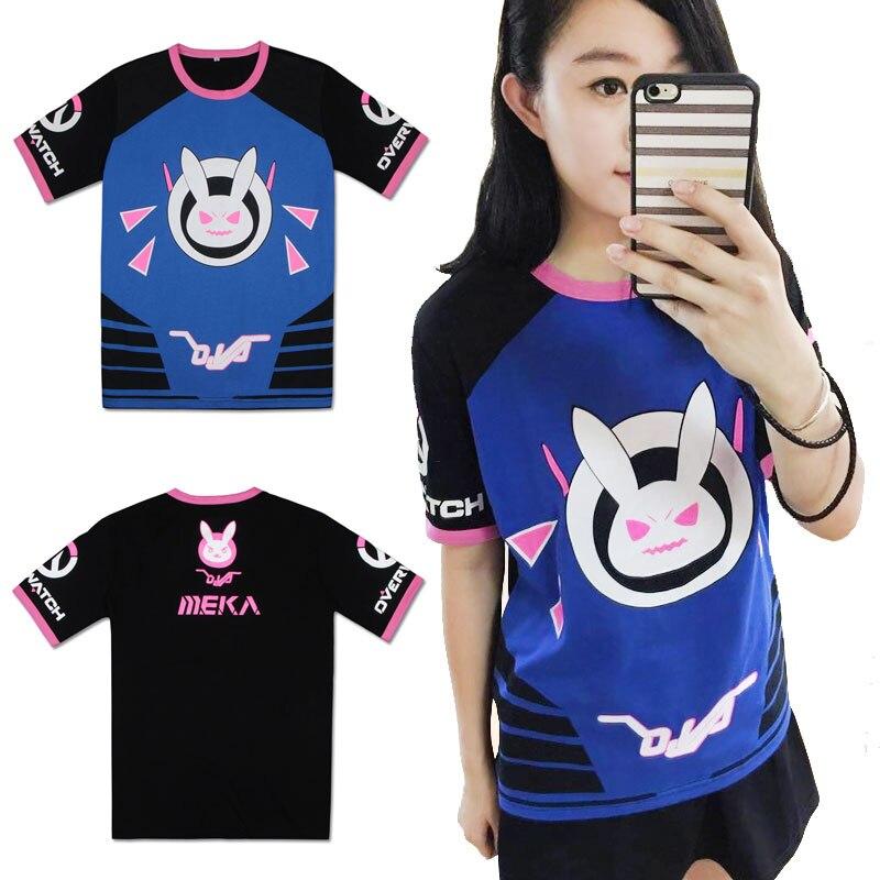 Nueva camiseta de moda juego OW D. VA cosplay de conejo Dva Unisex de manga corta Camisetas de verano Tops camiseta disfraces