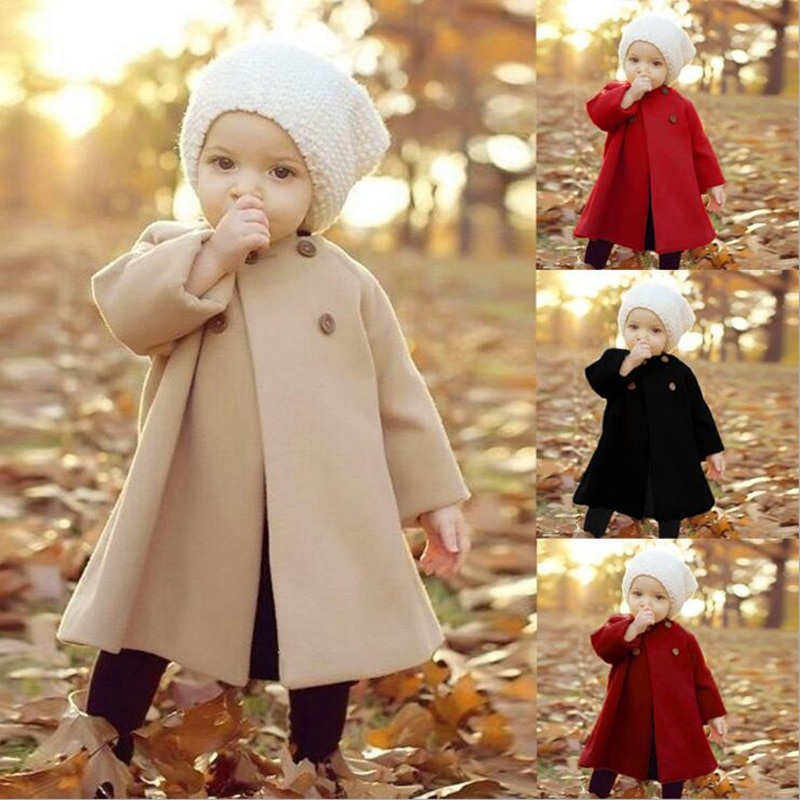 Baby Girl Boys Spring Winter Wool Blends Jacket Coat Clothes Infant Toddler Christmas New Years Cost