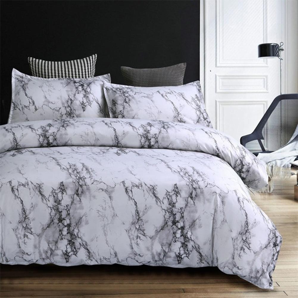 Marbling individual completo reina cama edredón funda de almohada de fibra de poliéster juego de cama