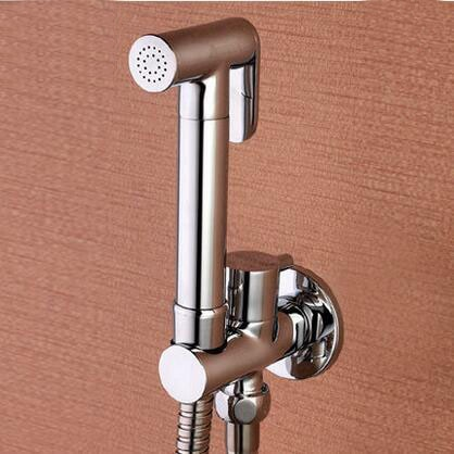 Juego de ducha de bidé de baño de cobre cromado, conjunto de dispositivo de descarga de inodoro montado en la pared de latón, grifo de bidé de un solo orificio conjunto de válvulas
