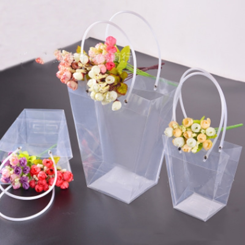 2019 nueva oferta regalo flor caja de embalaje transparente trapecio bolsa de transporte de flores rosa de PVC de plástico ramo embalaje planta suculenta