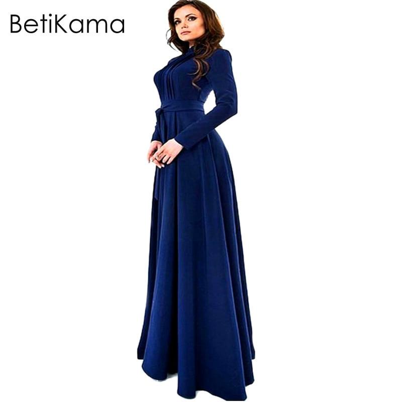 BetiKama Hot 2017 Mulheres Primavera Praia Casual Vestido Longo Azul Bodycon Elegant A-Line O-Neck Andar de Comprimento Feminino Vestido de Festa Maxi