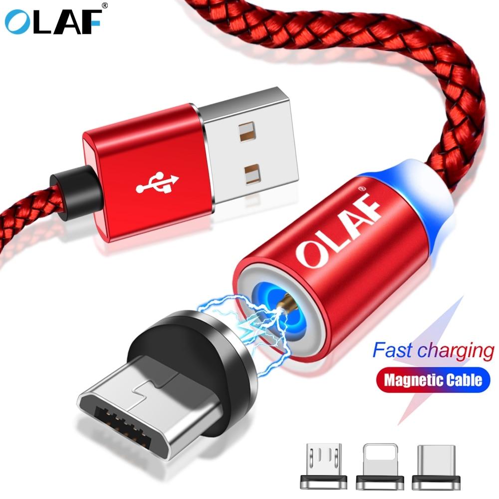 Cargador magnético OLAF Cable Micro USB tipo C Cable de carga rápida imán Microusb Cable USB magnético para iPhone Samsung Xiaomi Huawei