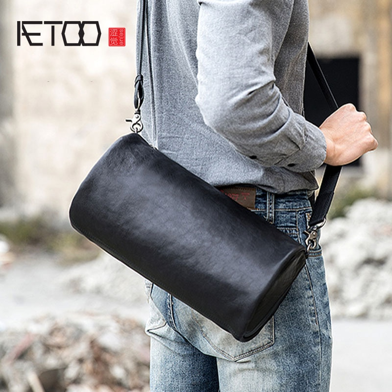 AETOO-حقيبة كتف جلدية ريترو للرجال ، حقيبة كتف صغيرة مصنوعة يدويًا ، أزياء غير رسمية