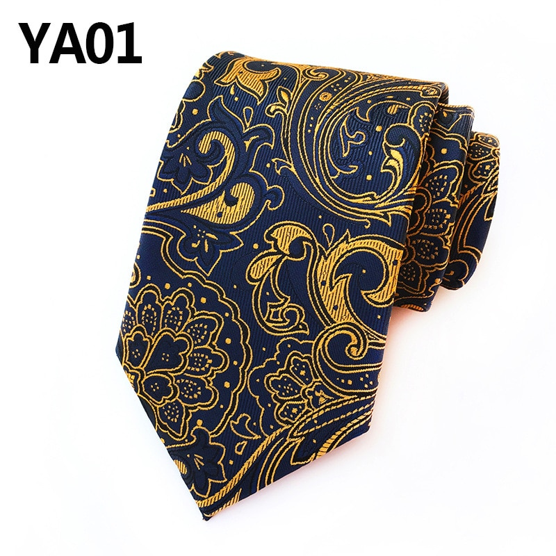 New Classic Paisley Gold JACQUARD WOVEN Silk Men's Tie Necktie