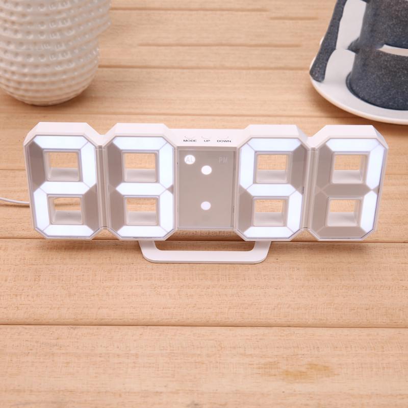 Reloj de mesa Digital USB de 8 formas Reloj de pared con pantalla LED relojes creativos 24 y 12 horas de exposición decoración del hogar regalo de Navidad