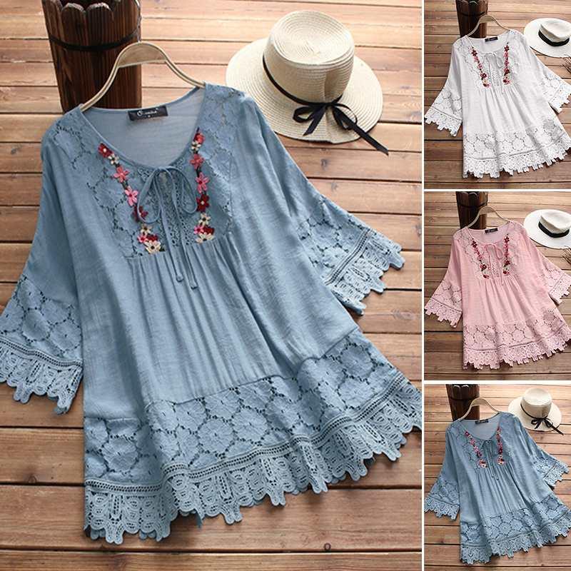 2020 zanzea plus size rendas blusa bordado feminino 3/4 manga alargamento camisa feminina casual retalhos blusa mulher túnica