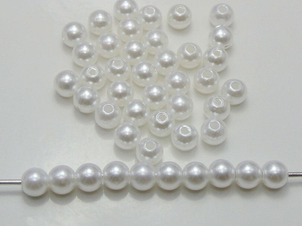200 Pcs 8mm Faux Pérola Redonda Beads Branco Pérola de Imitação de Plástico