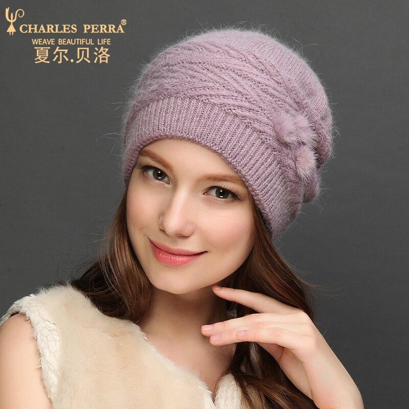 Nuevas gorras de lana Charles Perra para mujer, gorros tejidos para otoño e invierno con pelo de conejo, gorros abrigados para proteger las orejas, gorros casuales para mujer 7310