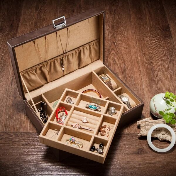 Europe Double jewellery box PU Leather watch case Jewelry bracelet storage collection box toys organizer storage gifts MSSH001
