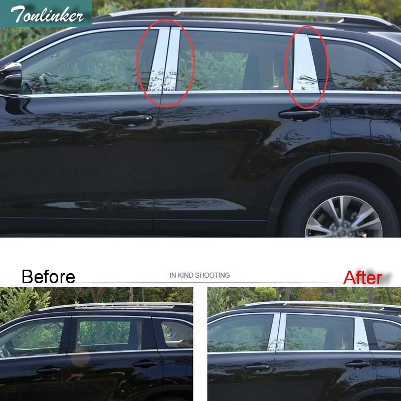 Tonlinker 6 PCS DIY Car styling Stainless steel window pillar light box case Stickers for TOYOTA HIGHLANDER 2015 accessories