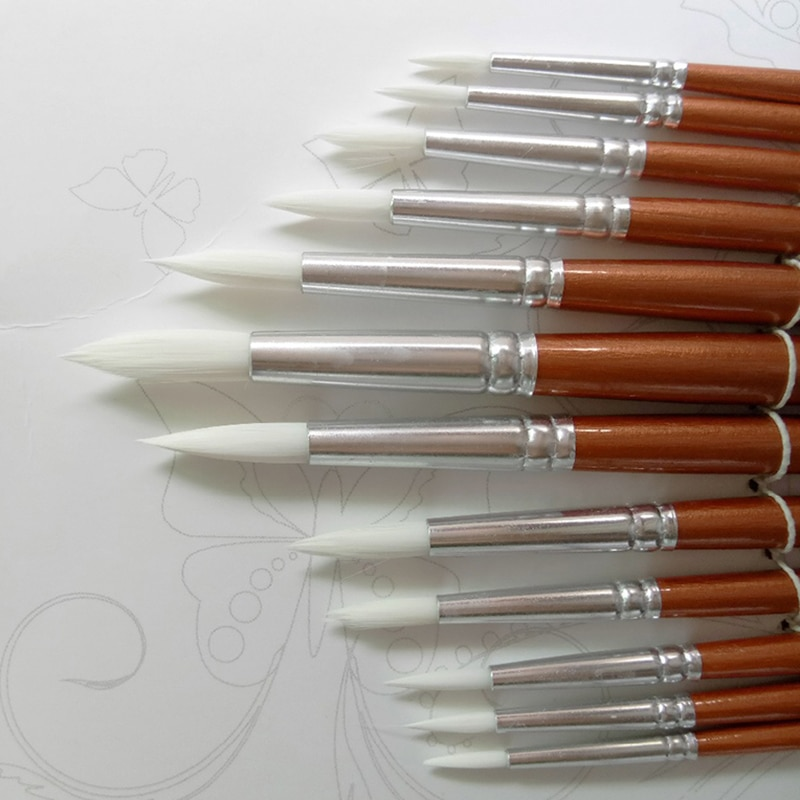 12Pcs/lot Round Shape Nylon Hair Wooden Handle Paint Brush Set Tool For Art School Watercolor Acrylic Painting Supplies