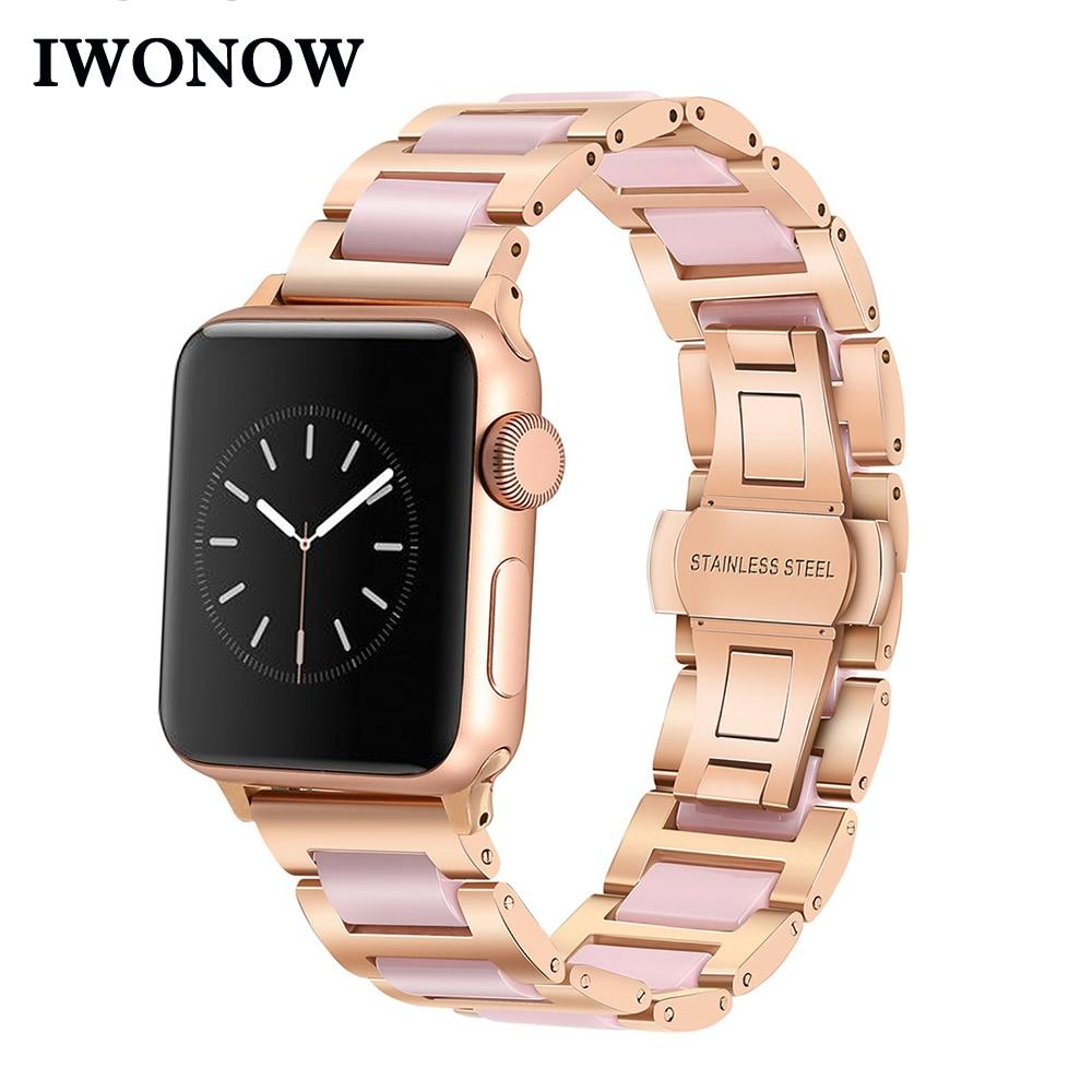 Stainless Steel & Ceramic Watchband for iWatch Apple Watch Series 5 4 3 2 1 38mm 40mm 42mm 44mm Women Band Wrist Belt Link Strap