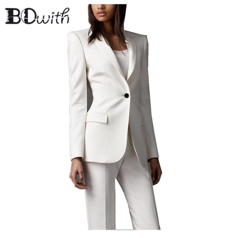 Женский костюм из 2 предметов, белый блейзер и брюки-карандаш