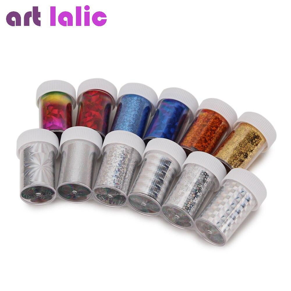 12Pcs Nail Art Foil Transfer Sticker Paper DIY Beauty Polish Design Stylish Nail Decoration Tools Random Color