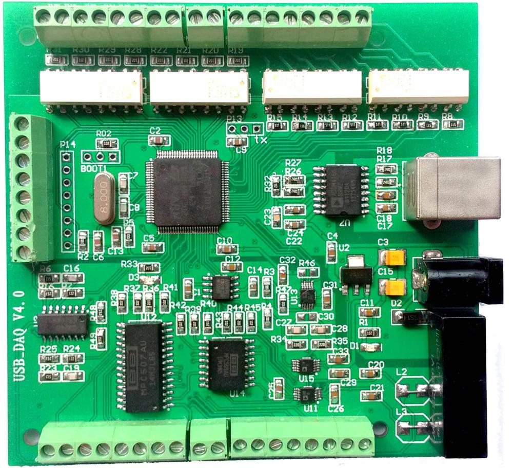 Tarjeta de adquisición de datos USB DAQ 16 canales 16-bit 150Ksps entrada analógica AD, 2DA 8DI/8DO PWM contador módulo