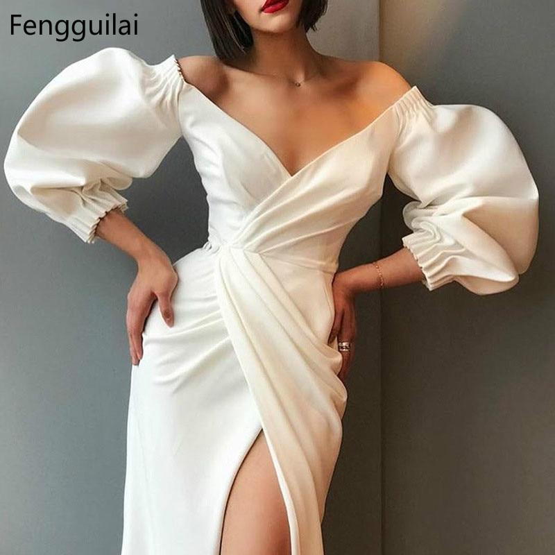 White Sexy Puff Sleeve V-neck Irregular Dress Women Fashion Long Dresses High Quality Steetwear High Waist Asymmetric Dress