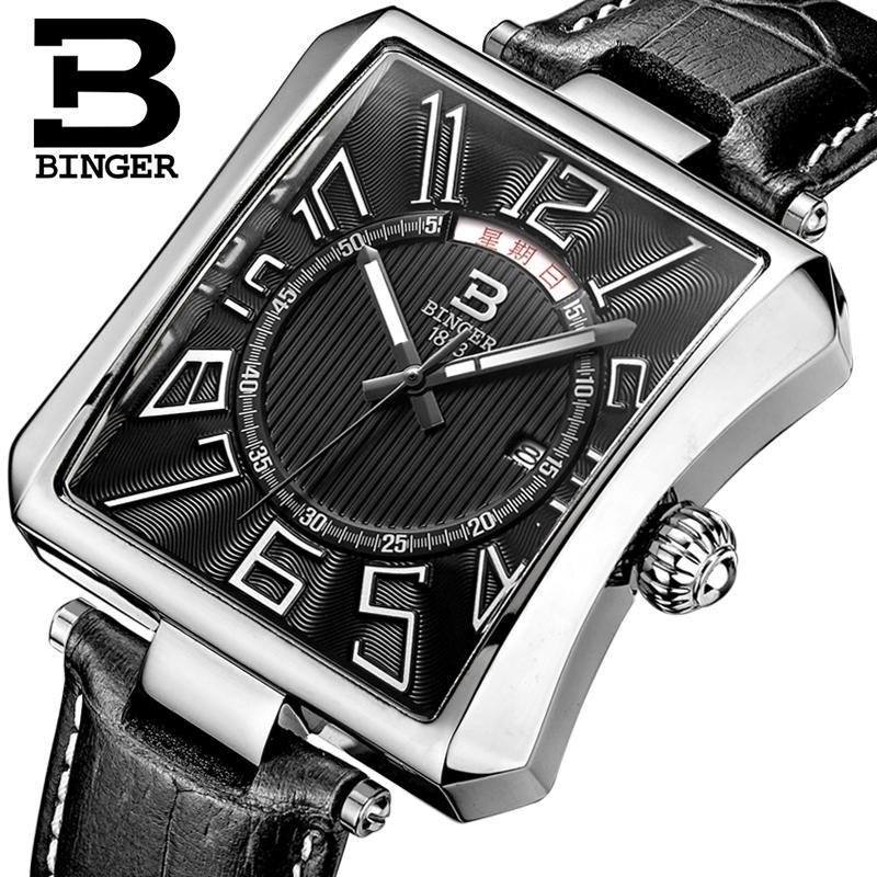 Reloj Suiza BINGER para hombre, reloj de cuarzo de marca de lujo Tonneau, correa de cuero impermeable, relojes de pulsera para hombre B3038-2