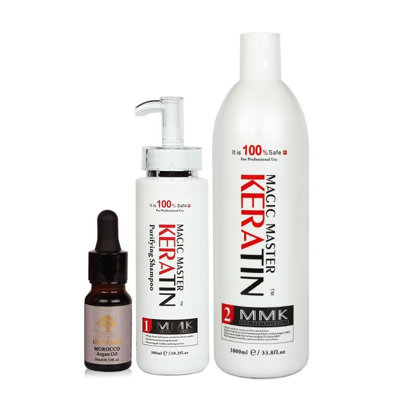 Óleo de coco sem formalina 1000ml magia mestre queratina tratamento do cabelo + purificante shampoo óleo argan conjunto