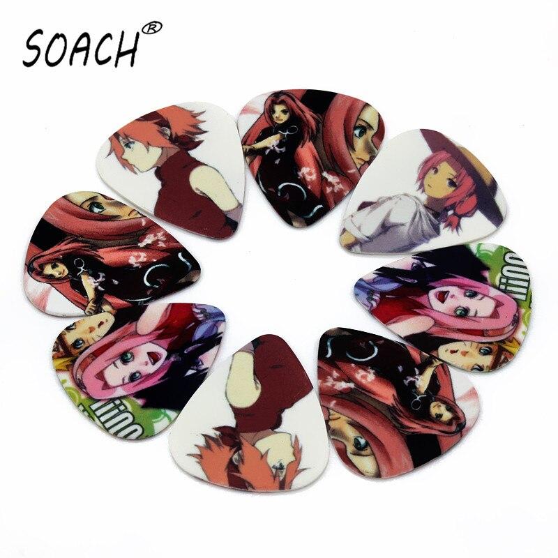 SOACH 50 Uds bajo paleta de guitarra bonitos dibujos animados de anime japonés púas para guitarra acústica 1,0mm espesor pick guitarra partes