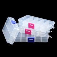 JHNBY réglable 10 fentes Transparent compartiment en plastique bijoux boîte de rangement conteneur pour perles boucles doreilles anneaux coffrets cadeaux