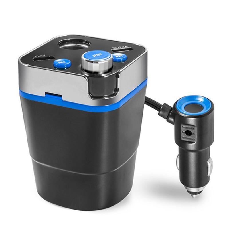 Adaptador para encendedor de coche, adaptador Bluetooth para coche, reproductor de música, modulador, forma de taza, cargador de coche, transmisor de cc 12/24V Fm