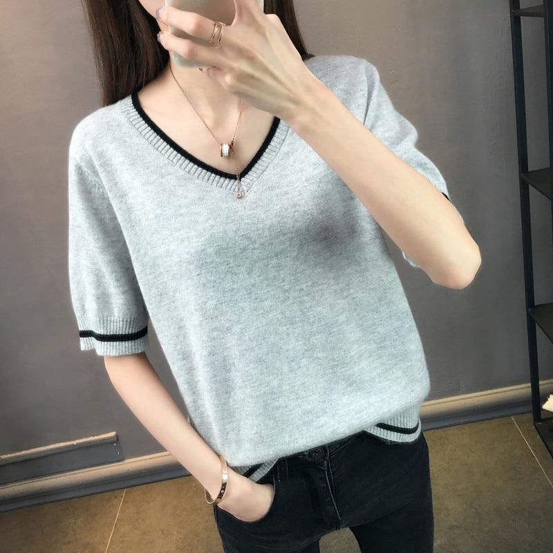 LHZSYY Women's New Knit Half sleeve T-Shirt Fashion Female Thin Section 2020 Summer Bottoming Shirt wild V-Neck Shirt Top Loose