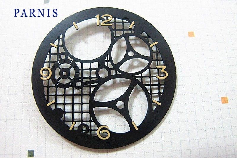 Запасные части для часов, 38,9 мм, механические часы с циферблатом, черным циферблатом и желтыми цифрами, подходят для движения 6497, новый дизай...