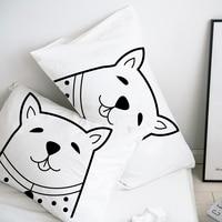 Custom Cartoon Pillow Case Pillowcase 50x70 50x75 50x80 70x70 Decorative Pillow Cover White Dog Bedding Drop Shipping