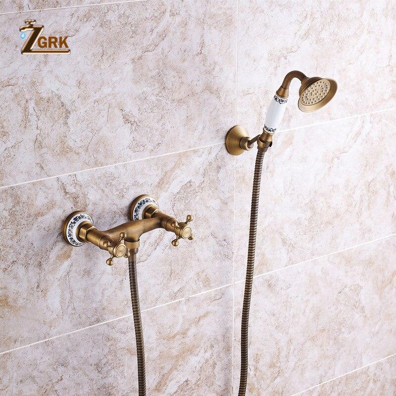ZGRK دش الحنفيات النحاس الأزرق والأبيض حوض الاستحمام الحنفيات دش يده الحمام الصحي جدار جبل دش صنبور حوض خلاط