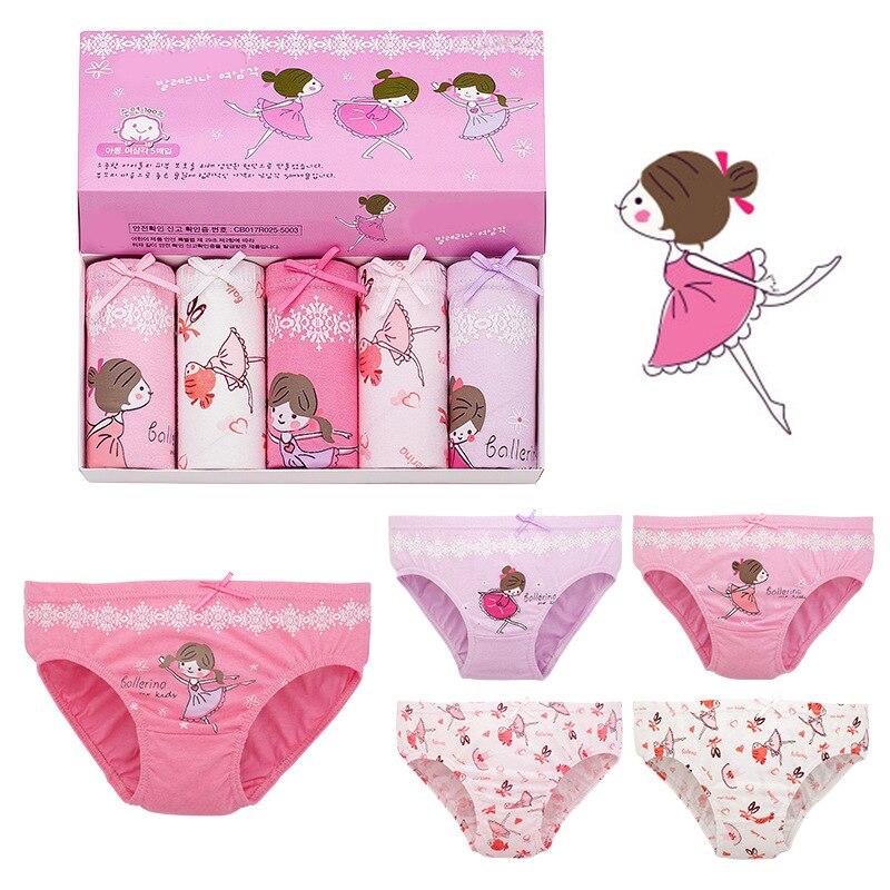 5 pcs 3-12T kids cotton panties Girls Panties infant cartoon printed child baby comics pants Bowknot briefs underwear set