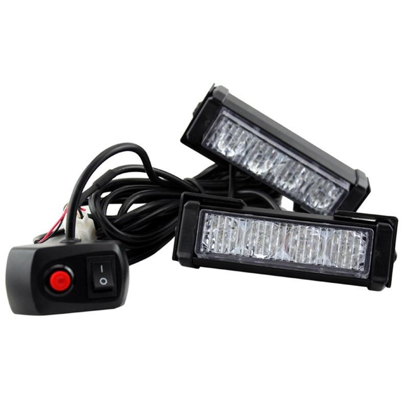 1x8 luces LED para coche, luz intermitente para policía, luz de advertencia para coche 8W, lámpara flash para motocicleta, luz diurna DRL