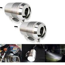 2 uds, faro LED cromado para motocicleta, faro delantero para motocicleta, bombilla de luz antiniebla para motocicleta, ATV, SUV, coche U2 1200LM, 30 W, luz para motocicleta, 12V DC