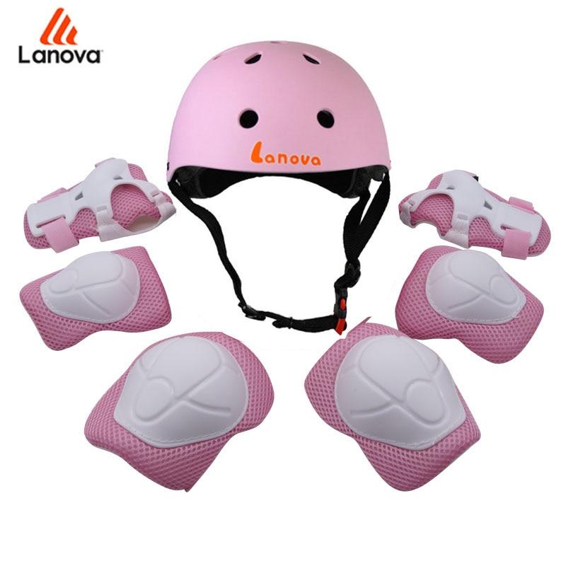 LANOVA 7Pcs/set Cycling Skating Skateboard Helmet Elbow Knee Pads Wrist Sport Children Bike Bicycle Roller Protect gear safety