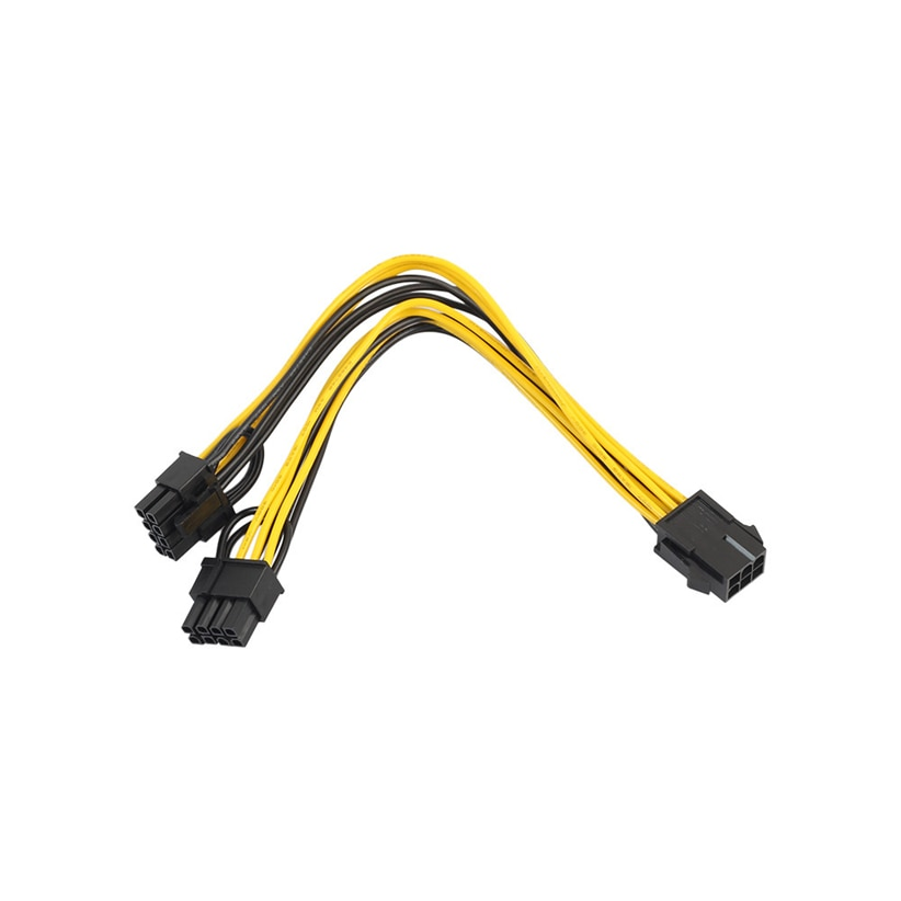 PCI-E 6-pin to 2x 6+2-pin (6-pin/8-pin) Power Splitter Cable PCIE PCI Express Futural Digital Drop Shipping JULL20